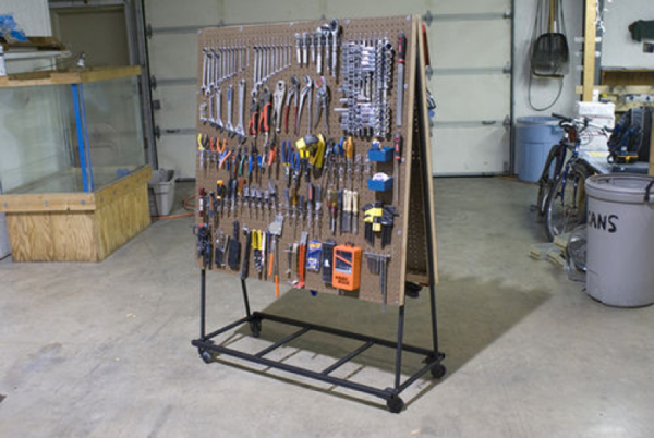 diy pegboard tool cart with wheels