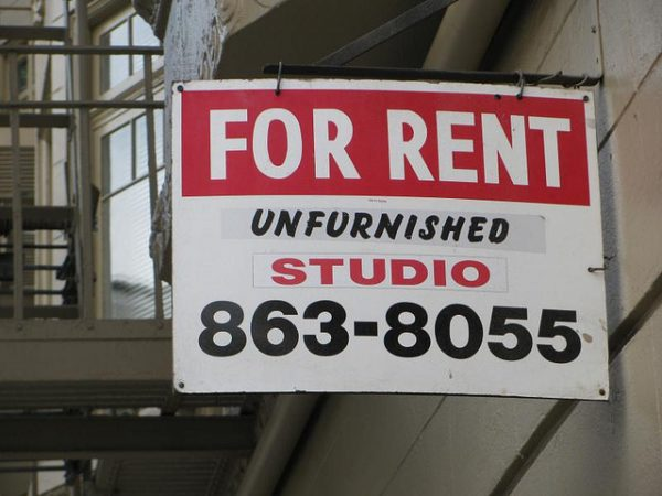 unfurnished studio for rent sign