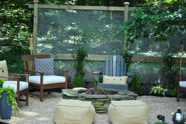 Alison Giese Designed This Backyard Fire Pit Decor With A Garden Screen,  Outdoor Chairs,