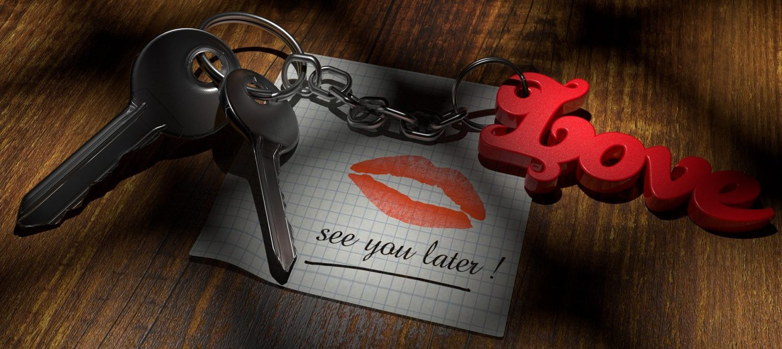 "moving in together: keys on a ""love"" keychain on top of a note that has red lipstick imprints and reads ""see you later"""