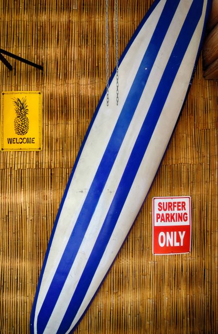 blue and white surfboard against a bamboo wall