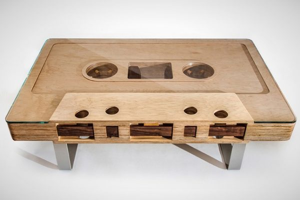 wooden cassette tape coffee table