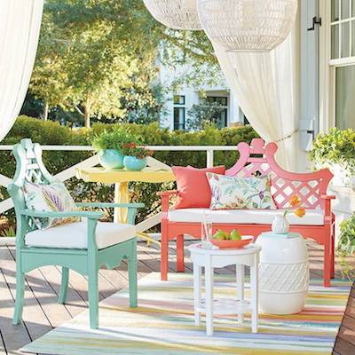 erica gail's multi-colored and patterned outdoor decor from grandin road