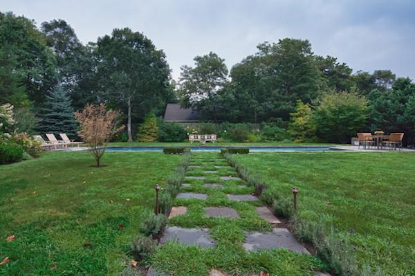 backyard stone walkway and pool by renae cohen