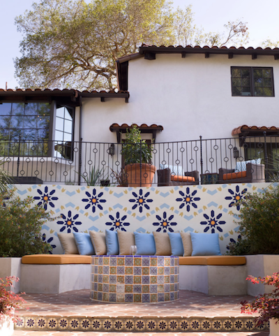 tiled patio with outdoor seating with cushions and pillows, designed by lori dennis