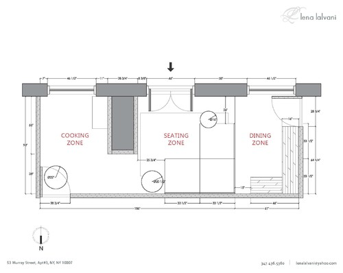 lena lalvani's blueprint of an outdoor deck with a cooking zone, seating zone, and dining zone