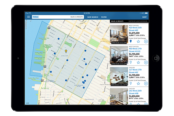 typical apartment search via ipad