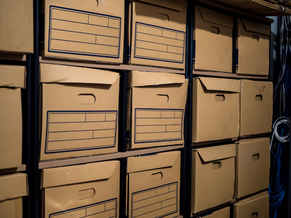 Boxes for sorting out-of-season items in the back of the garage.