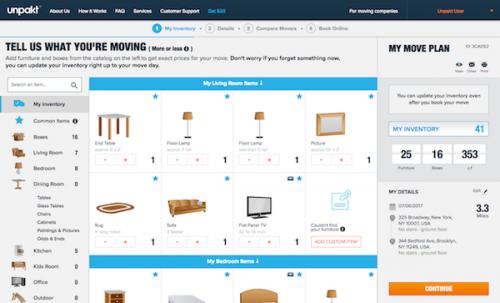 Unpakt inventory desktop