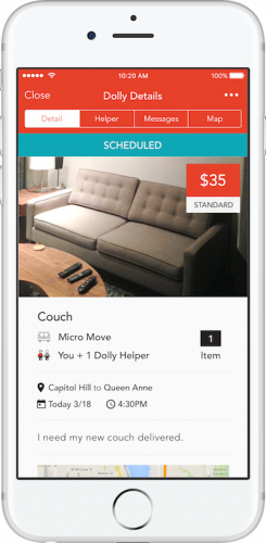 Dolly app schedule screen