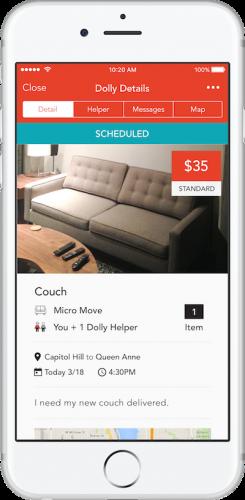 Dolly app schedule screen