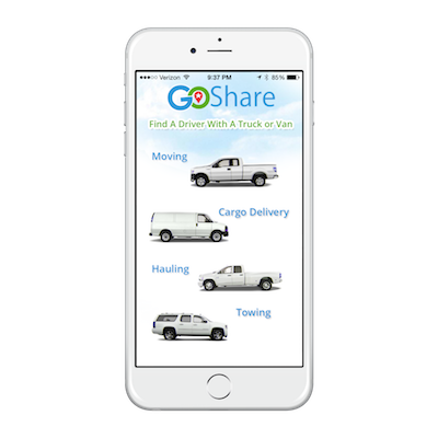 GoShare Home Screen iPhone App
