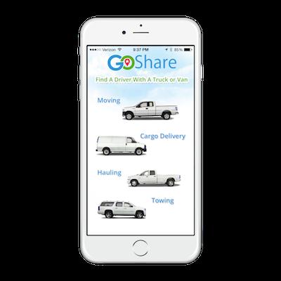 GoShare Home Screen iPhone App