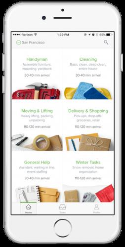 TaskRabbit App Homepage