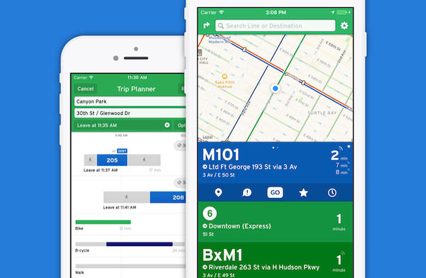 example of tracking the metro system via Transit app