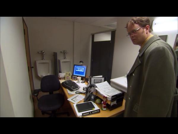 Dwight's desk in the bathroom