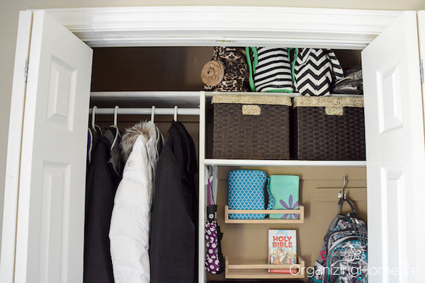 Entry closet shelf baskets