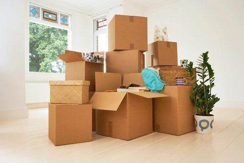 a large pile of packed boxes