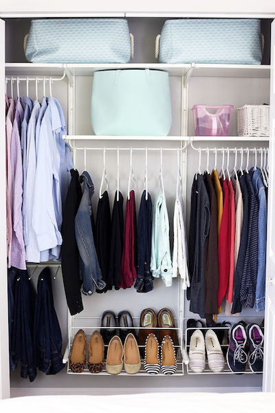 a closet that has been decluttered