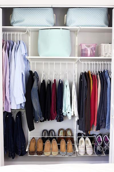 a closet that has been decluttered