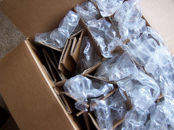 A closeup of fragile items that have been packed away