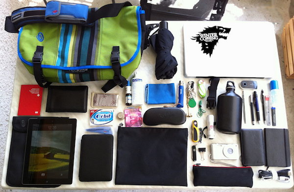 the contents of an overnight bag