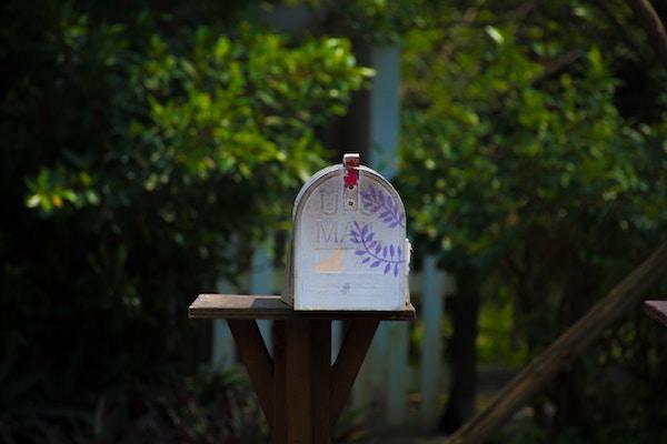 a closeup of a mailbox outside