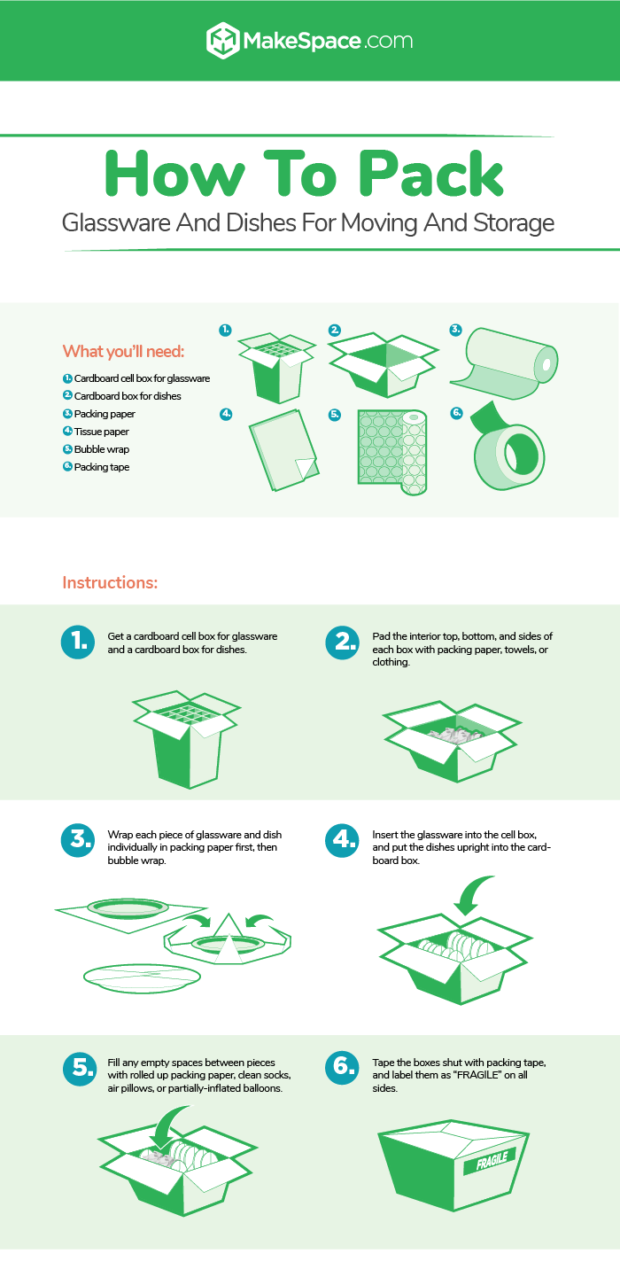 how to pack glassware and dishes for moving and storage instructographic by makespace