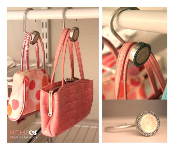 diy purse hangers made from shower curtain hooks by home made by carmona