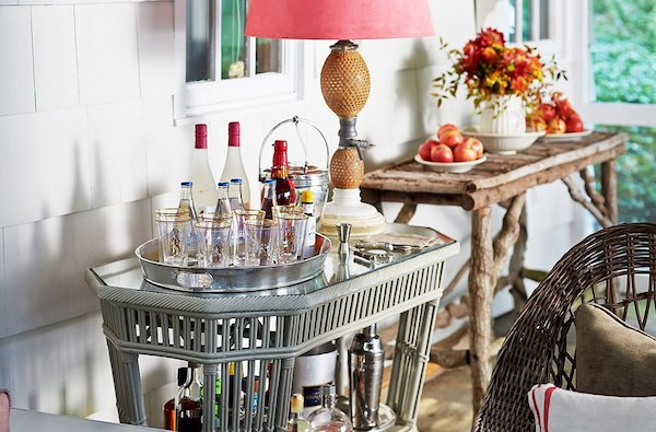 sophisticated bar cart
