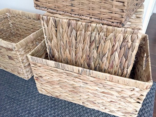 four wicker baskets for in-home storage