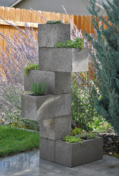 vertical cinder block planter
