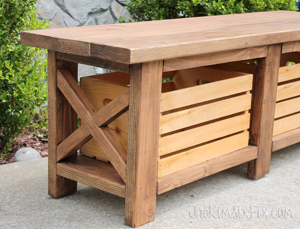 outdoor wooden crate storage bench