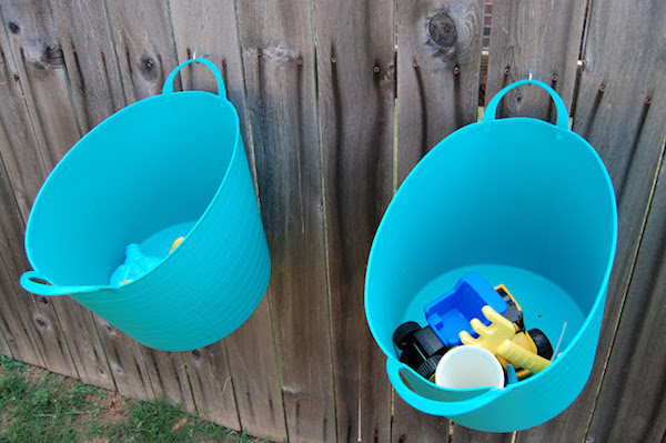 hanging outdoor storage buckets