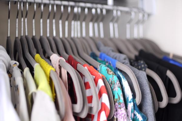 matching velvet hangers hanging shirts