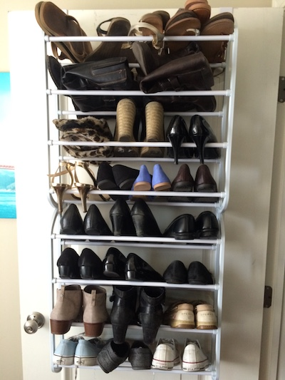 shoe rack on back of closet door