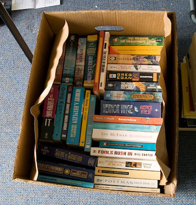 A box full of books ready to be donated