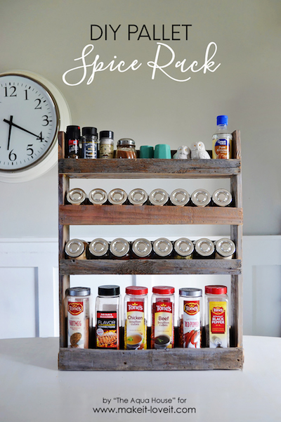 a multi-level spice rack made of pallet wood holds a number of spices
