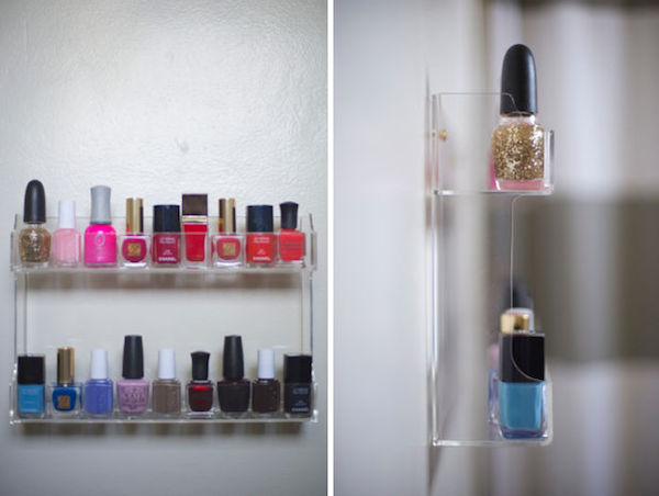 container store acrylic rack storing bottles of nail polish