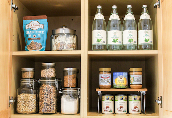 bamboo risers are used to elevate pantry staples