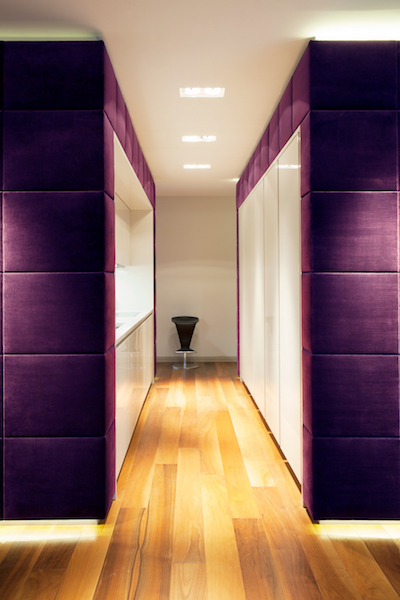 royal purple hallway walls