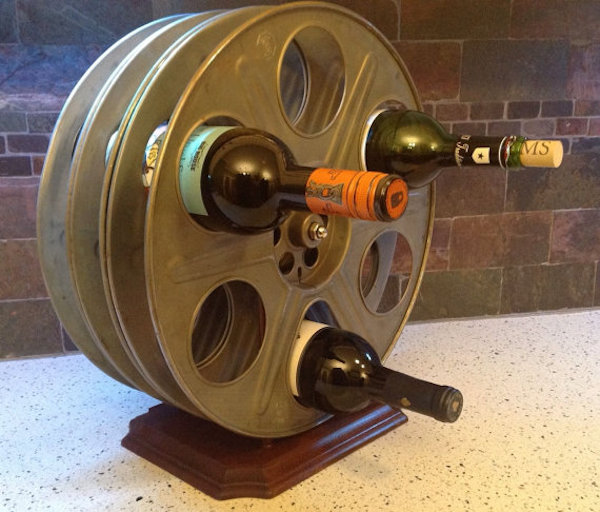 film reel wine holder