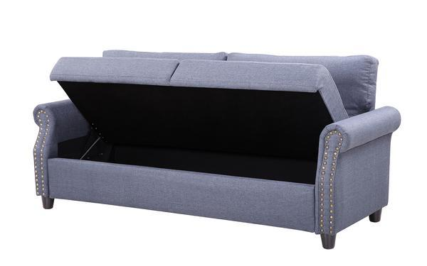 a grey sofa mania arthur classic linen storage sofa with the seating open