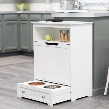 a white boomer and george pet feeding station with pull-out drawers in the bottom