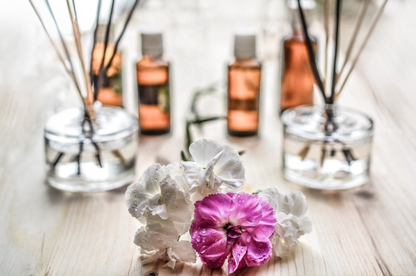 flowers with essential oil diffusers
