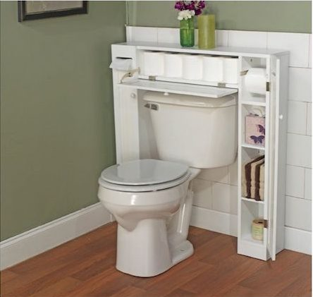 a white over-the-toilet simple living space saver shelf storing toilet paper, tissues, hand towels, and more