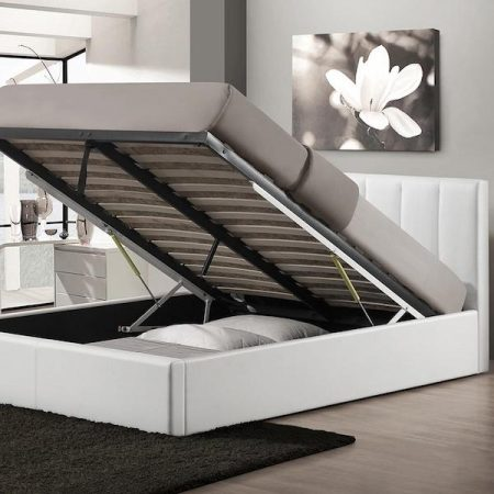 a chic baxton studio engelbertha white queen upholstered bed that lifts open for easy under bed storage