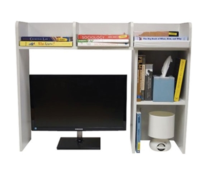 a white classic dorm desk bookshelf stores books, a tissue box, and more above a computer monitor