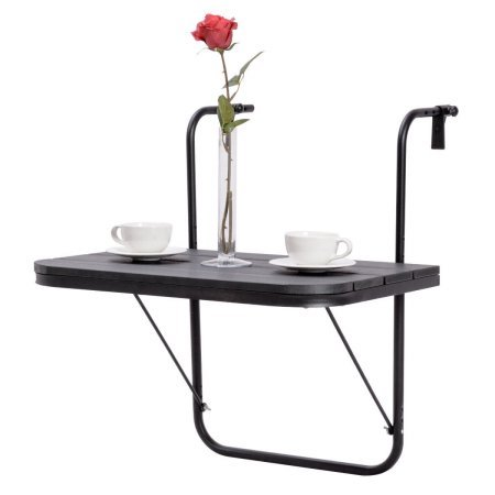 an adjustable gymax hanging railing folding deck table supporting 2 white coffee mugs on plates and a rose in glass vase