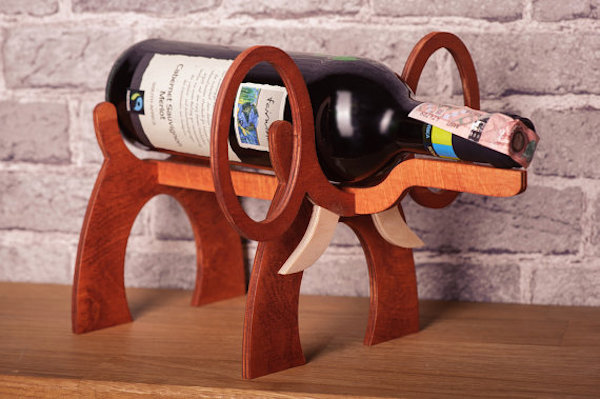 wooden elephant wine bottle holder